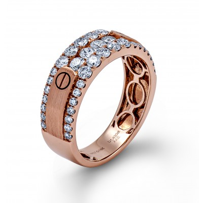 18K Rose Gold Diamond Men's Band