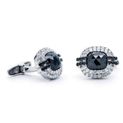 18K White Gold Black Diamond Cufflinks