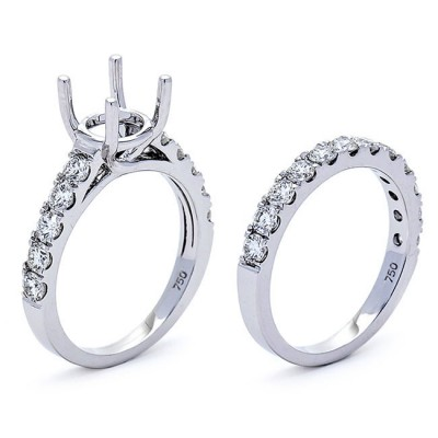 18K White Gold Semi-Mount Set for a 1.50ct  Round Center