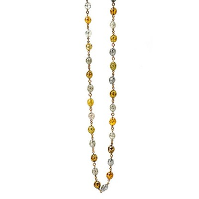 18K Yellow Gold Multi Colored Fancy Diamond Bead Necklace