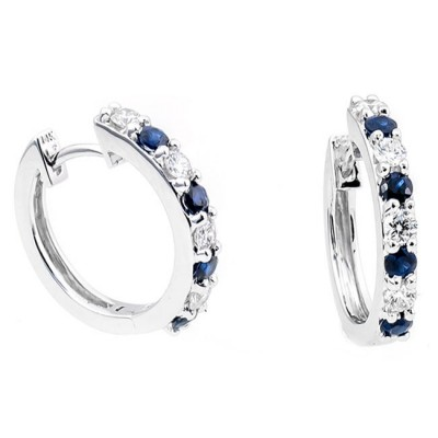 14K White Gold Sapphire Earrings