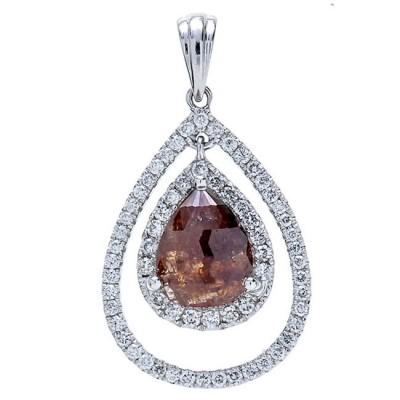 18K White Gold Fancy Diamond Pendant