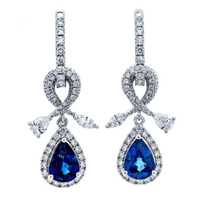 18K White Gold Sapphire Earrings