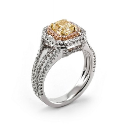 18K Tri-color Gold Yellow Diamond Ring