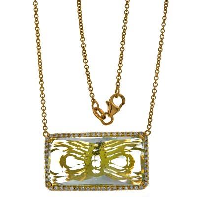 18K Yellow Gold Lemon Quartz Necklace