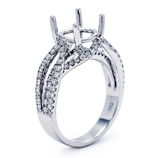 18K White Gold Semi-Mount for a 2.5ct Round Center