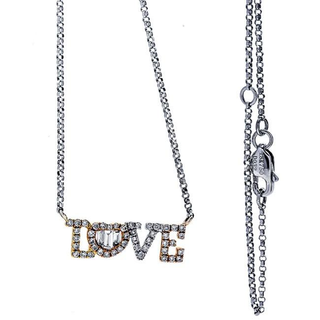 18K Tri-Color Gold Fancy Diamond Necklace
