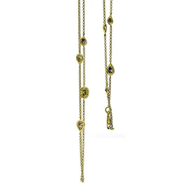 18K Yellow Gold Fancy Diamond Necklace