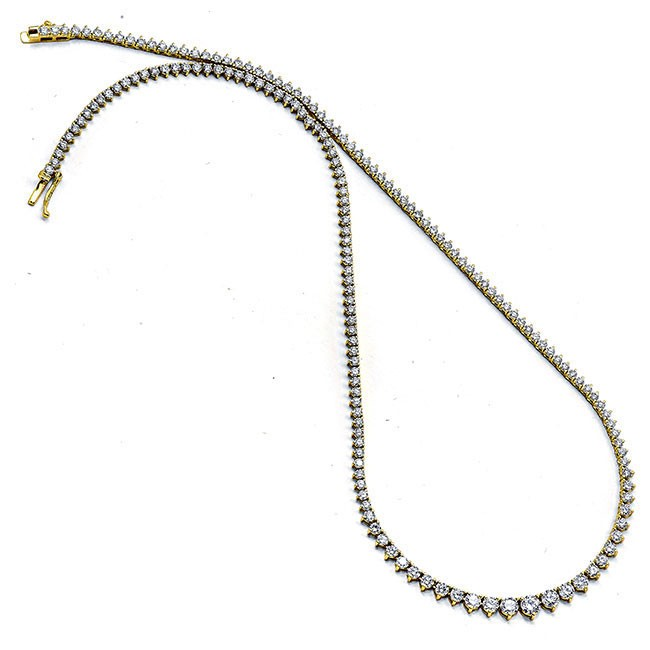 18K Yellow Gold Tennis Necklace