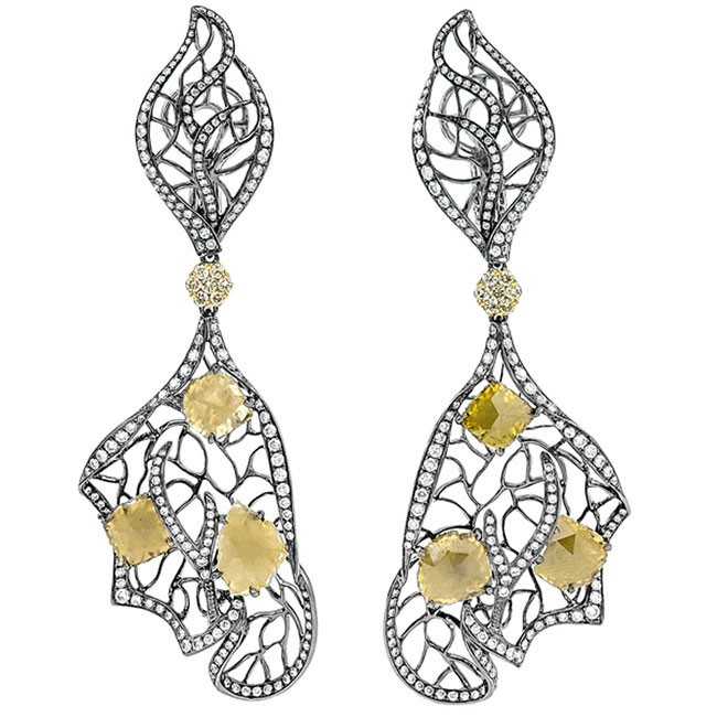 18K White Gold Yellow Diamond Earrings