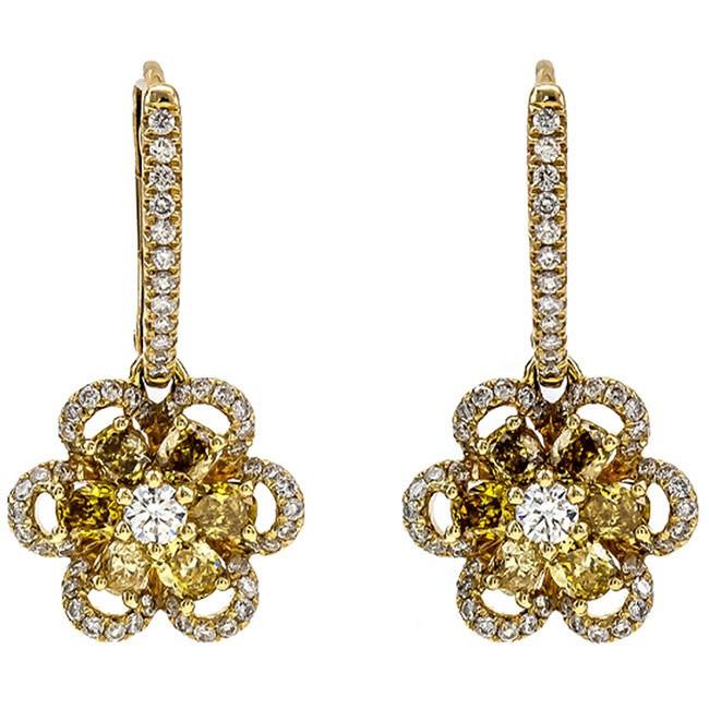 18K Yellow Gold Fancy Diamond Earrings