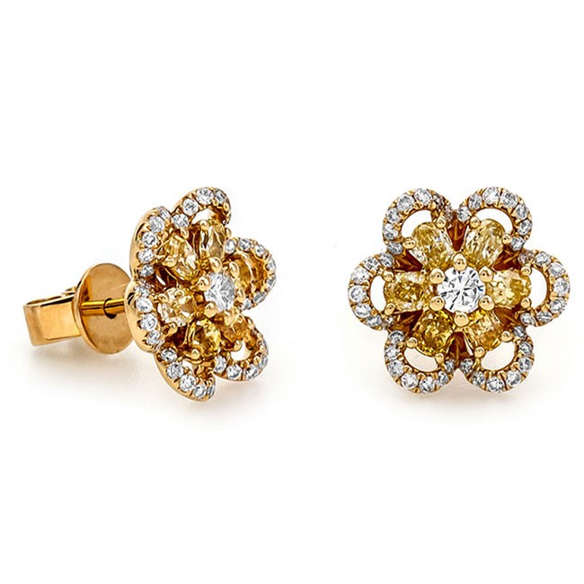 18K Yellow Gold Fancy Diamond Studs