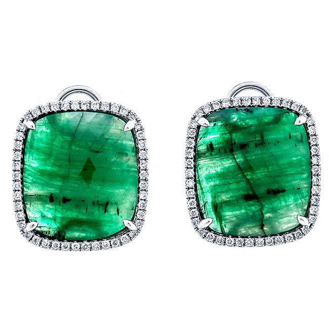 18K White Gold Fancy Emerald Slices Studs