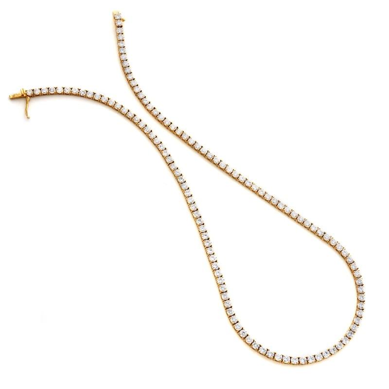 18K Yellow Gold Diamond Tennis Necklace