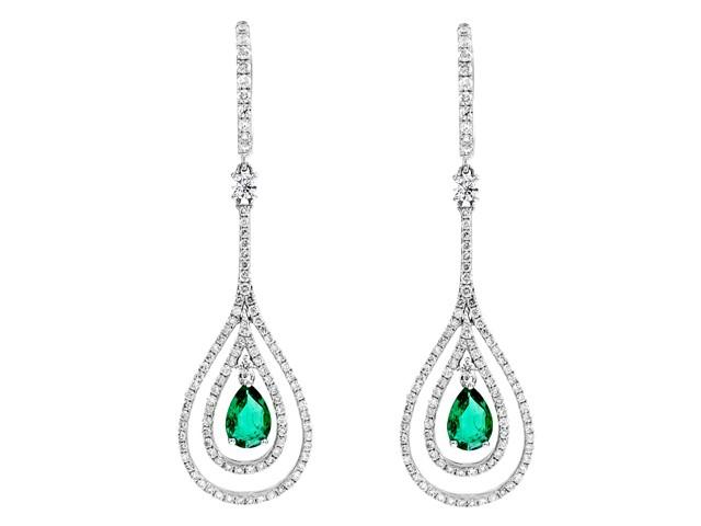 18K White Gold Long Emerald Earrings