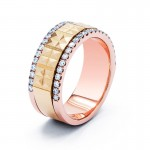 18K Tri-Color Gold Diamond Mens Band