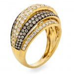 18K Yellow Gold Brown Diamond Band