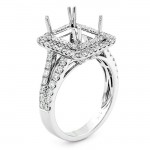 18K White Gold Semi-Mount for a Radiant Cut Center