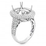 18K White Gold Semi-Mount for a Oval Center