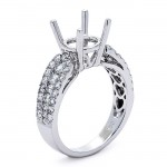 18K White Gold Semi-Mount for a 2.00ct Round Center