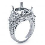 18K White Gold Semi-Mount for a 10.5x13.5mm Oval Center