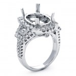 18K White Gold Semi-Mount for a 10x14mm Oval Center
