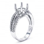 18K White Gold Semi-Mount for a 1.5ct Round Center