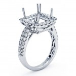 18K White Gold Semi-Mount for a 8.5x8.5mm Princess Cut Center