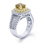 18K Two-tone Gold Champagne Diamond Ring