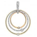 18K Tri-Color Gold Diamond Pendant