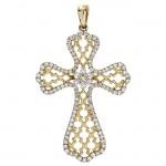 18K Yellow Gold Diamond Cross Pendant