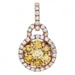 18K Rose Gold Yellow Diamond Pendant