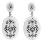 18K White Gold White Agate Earrings