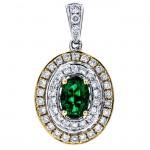 18K Two-tone Gold Emerald Pendant