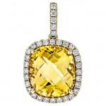 18K Yellow Gold Citrine Stone Pendant