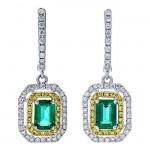 18K Two-tone Gold Emerald Earrings