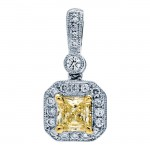 18K White Gold Yellow Diamond Pendant
