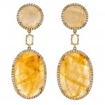 18K Yellow Gold Fancy Sapphire Slice Earrings