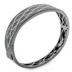18K Black Rhodium Diamond Bangle