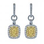 18K Two-tone Yellow Diamond Earrings
