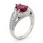 18K White Rose Gold Rubelite Ring