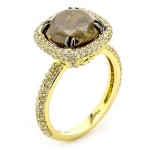 18K Yellow Gold Black Fancy Diamond Ring