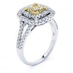 18K Two-tone Gold Yellow Diamond Ring