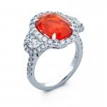 18K White Gold Fire Opal Ring