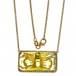 18K Yellow Gold Green Quartz Necklace