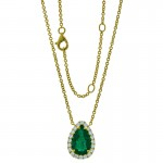 18K Two-Tone Gold Emerald Necklace