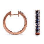 18K Rose Gold Sapphire Hoops