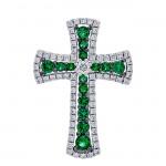 18K White Gold Emerald Cross Pendant