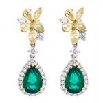 18K Two-tone Emerald and Yellow Diamond Earrings