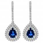 18K White Gold Sapphire Earrings